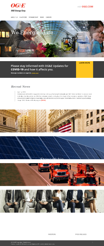 OGE Energy Corp. Website Screenshot