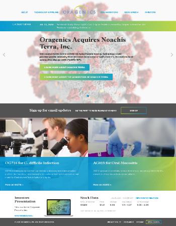 Oragenics, Inc. Website Screenshot