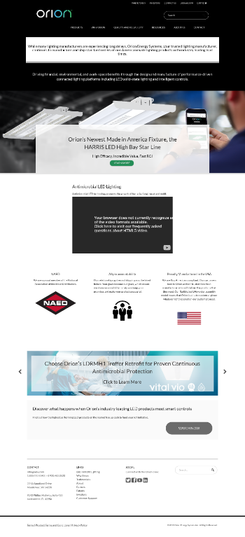Orion Energy Systems, Inc. Website Screenshot