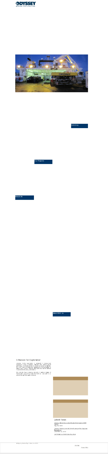 Odyssey Marine Exploration, Inc. Website Screenshot