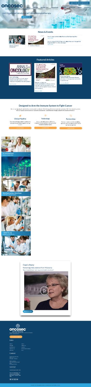 OncoSec Medical Incorporated Website Screenshot