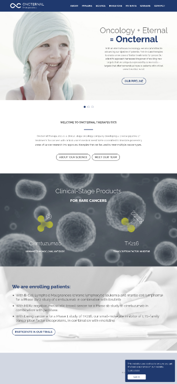 Oncternal Therapeutics, Inc. Website Screenshot