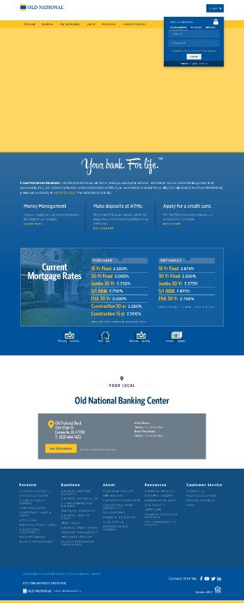 Old National Bancorp Website Screenshot