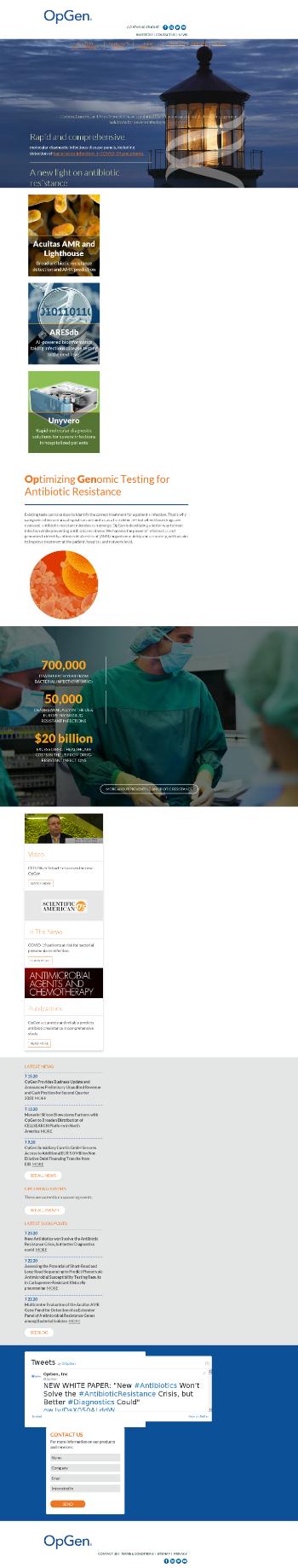 OpGen, Inc. Website Screenshot