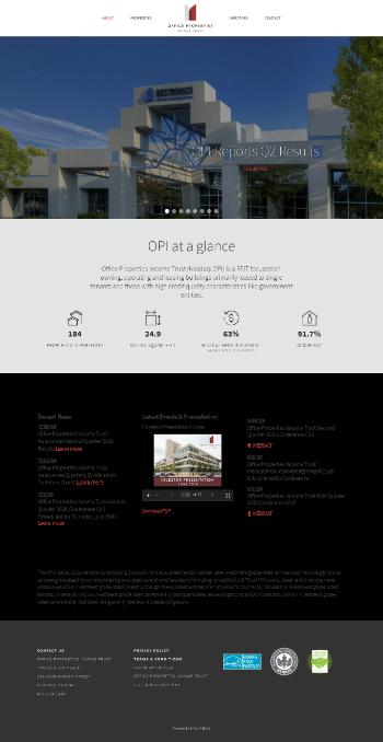 Office Properties Income Trust Website Screenshot