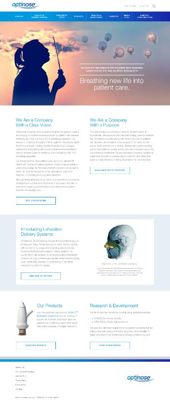 OptiNose, Inc. Website Screenshot