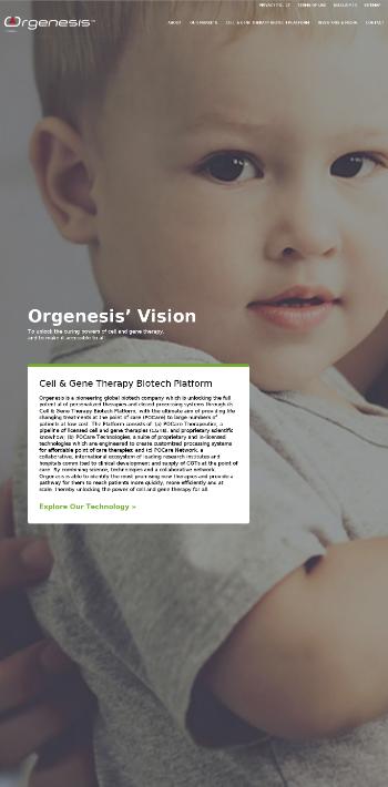 Orgenesis Inc. Website Screenshot