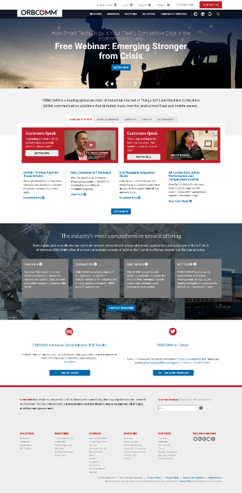 ORBCOMM Inc. Website Screenshot