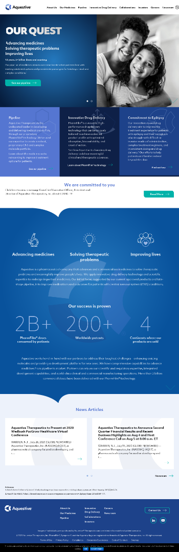 Aquestive Therapeutics, Inc. Website Screenshot