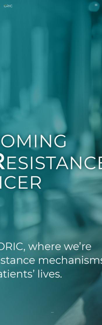 ORIC Pharmaceuticals, Inc. Website Screenshot