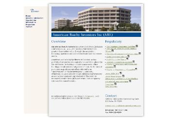 American Realty Investors, Inc. Website Screenshot