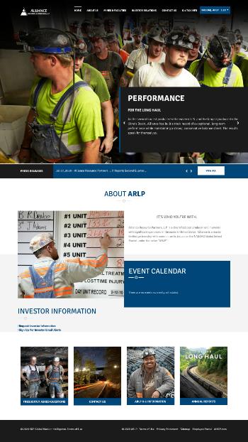 Alliance Resource Partners, L.P. Website Screenshot