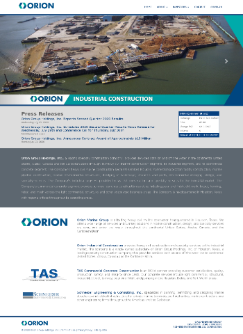 Orion Group Holdings, Inc. Website Screenshot