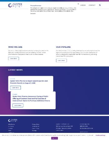 Oyster Point Pharma, Inc. Website Screenshot