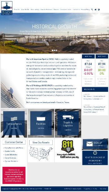 Plains GP Holdings, L.P. Website Screenshot