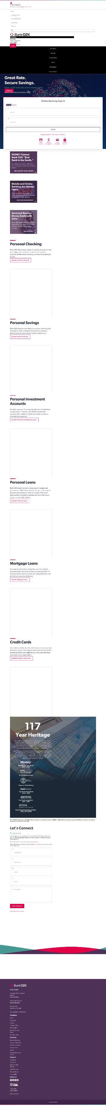 Bank OZK Website Screenshot