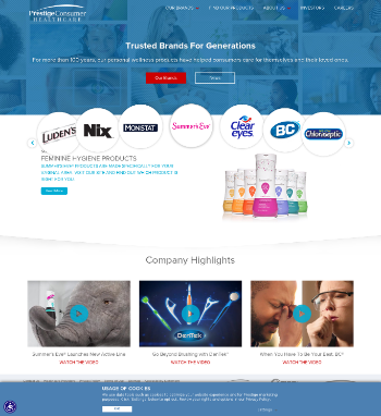 Prestige Consumer Healthcare Inc. Website Screenshot