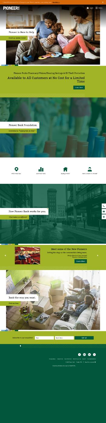 Pioneer Bancorp, Inc. Website Screenshot
