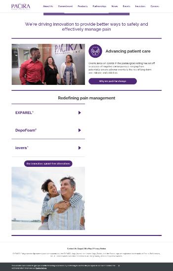 Pacira BioSciences, Inc. Website Screenshot