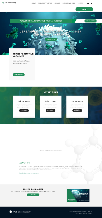 PDS Biotechnology Corporation Website Screenshot