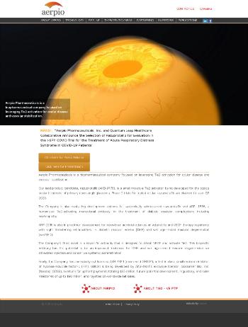 Aerpio Pharmaceuticals, Inc. Website Screenshot