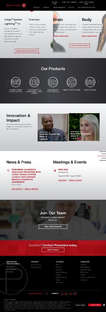 Penumbra, Inc. Website Screenshot