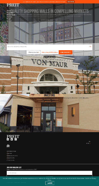 Pennsylvania Real Estate Investment Trust Website Screenshot