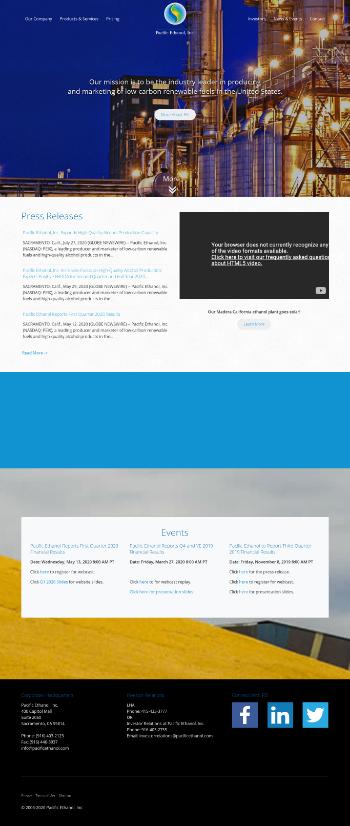 Pacific Ethanol, Inc. Website Screenshot
