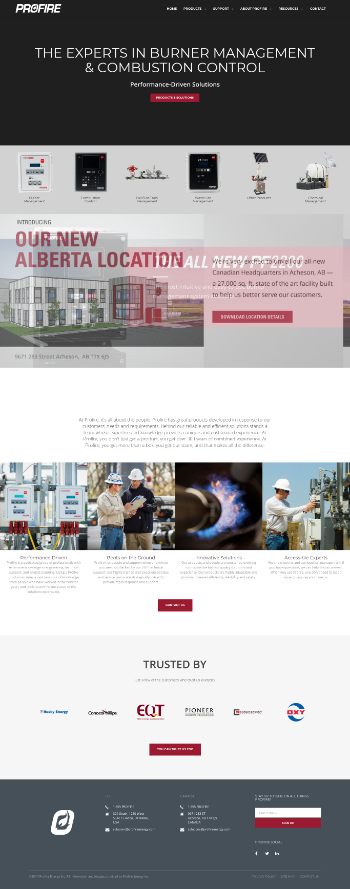Profire Energy, Inc. Website Screenshot