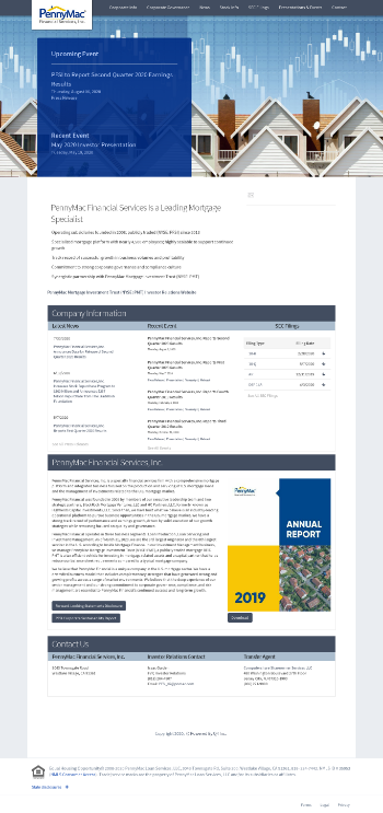PennyMac Financial Services, Inc. Website Screenshot