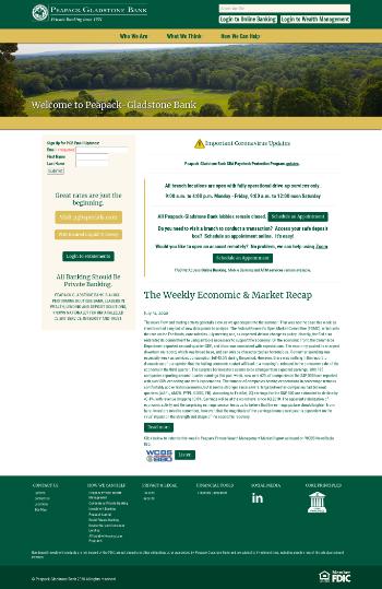 Peapack-Gladstone Financial Corporation Website Screenshot