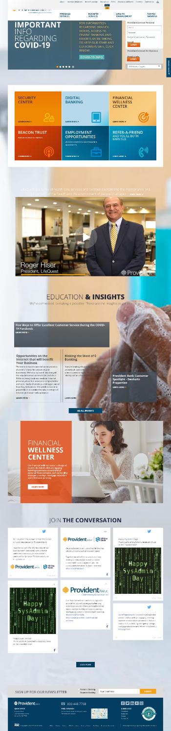 Provident Financial Services, Inc. Website Screenshot