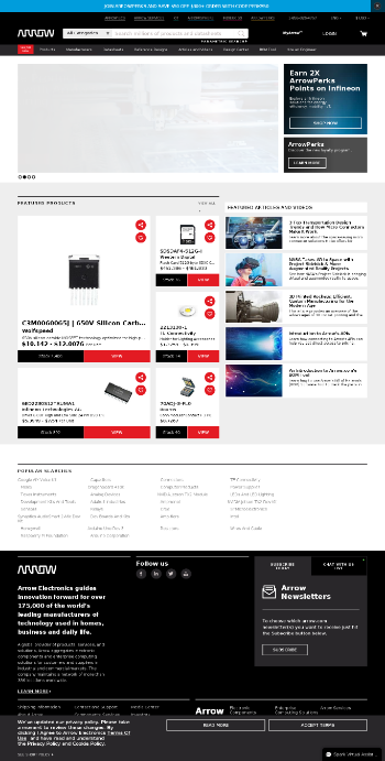 Arrow Electronics, Inc. Website Screenshot