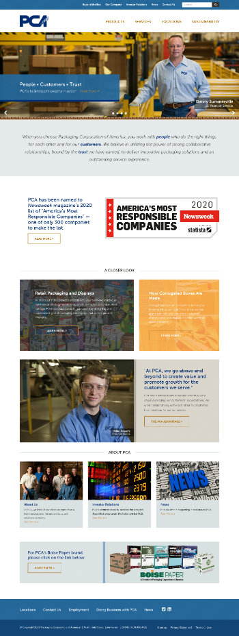 Packaging Corporation of America Website Screenshot