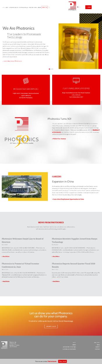 Photronics, Inc. Website Screenshot
