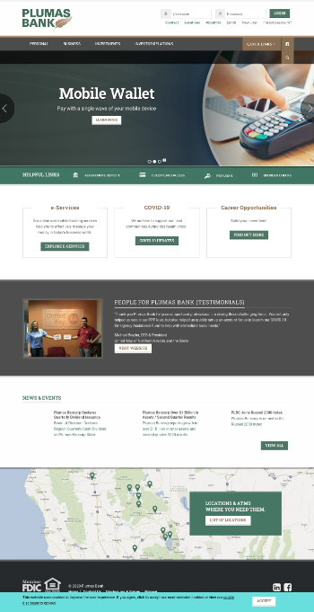Plumas Bancorp Website Screenshot
