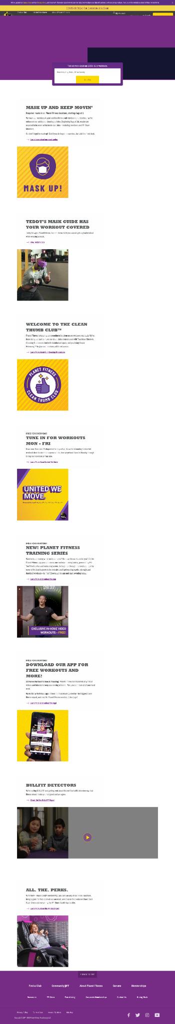 Planet Fitness, Inc. Website Screenshot