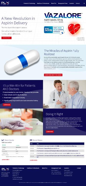 PLx Pharma Inc. Website Screenshot