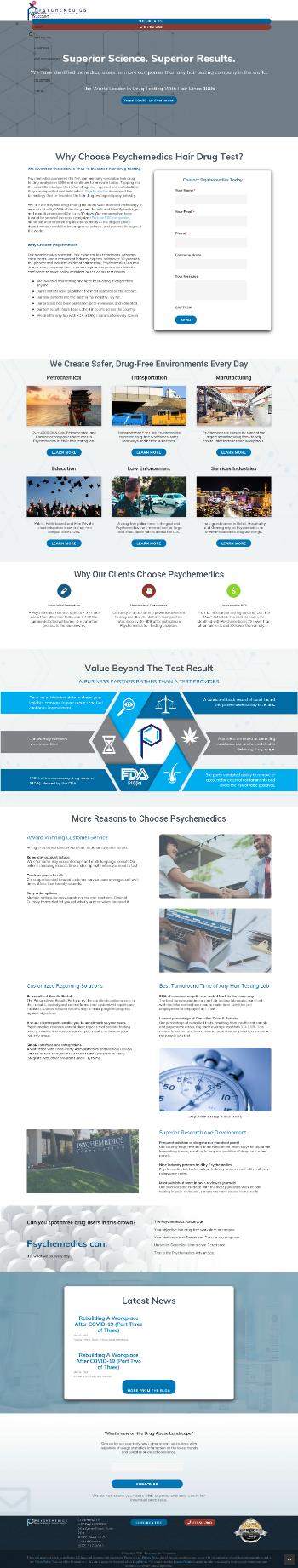 Psychemedics Corporation Website Screenshot