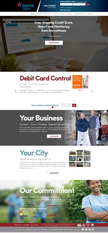 Patriot National Bancorp, Inc. Website Screenshot
