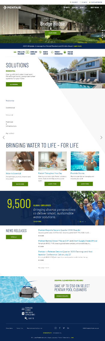 Pentair plc Website Screenshot