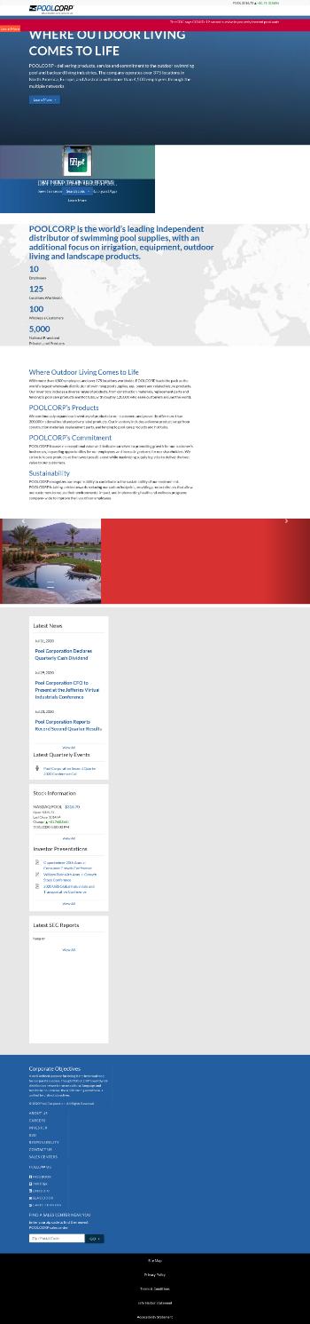 Pool Corporation Website Screenshot