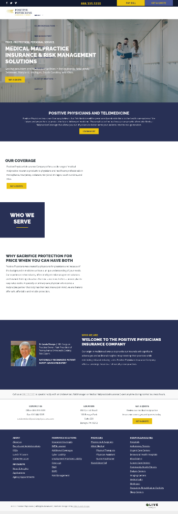 Positive Physicians Holdings, Inc. Website Screenshot
