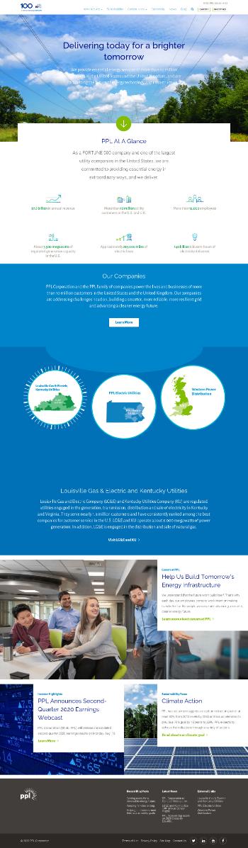 PPL Corporation Website Screenshot