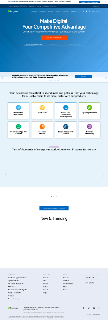 Progress Software Corporation Website Screenshot