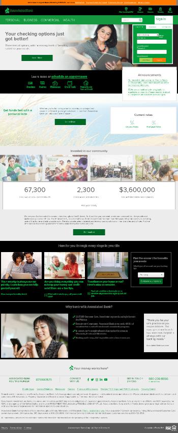 Associated Banc-Corp Website Screenshot
