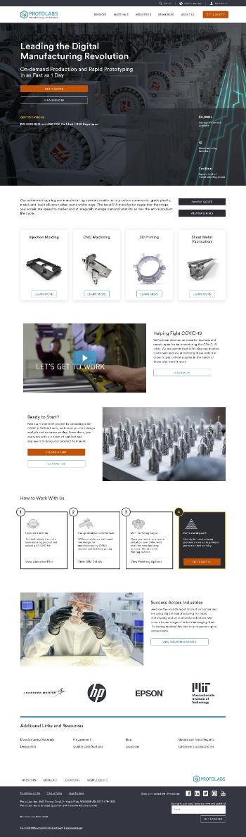 Proto Labs, Inc. Website Screenshot