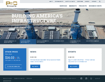 Primoris Services Corporation Website Screenshot