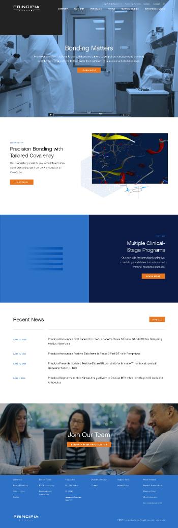 Principia Biopharma Inc. Website Screenshot