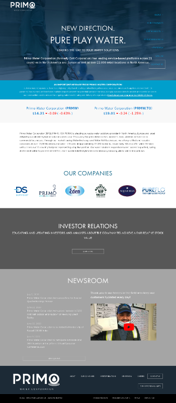 Primo Water Corporation Website Screenshot